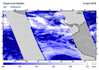 OMI - Cloud cover fraction of 09 June 2018