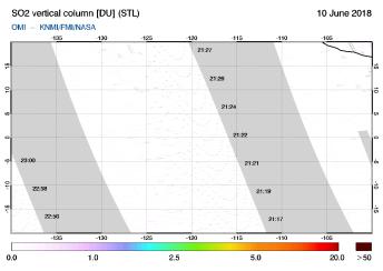OMI - SO2 vertical column of 10 June 2018