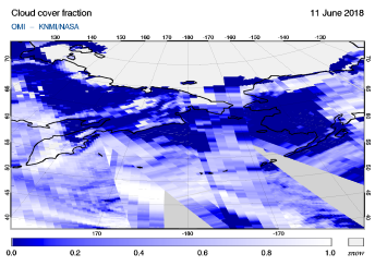 OMI - Cloud cover fraction of 11 June 2018