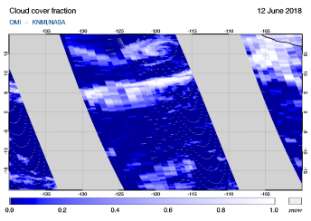 OMI - Cloud cover fraction of 12 June 2018