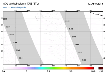 OMI - SO2 vertical column of 12 June 2018