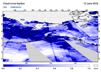 OMI - Cloud cover fraction of 13 June 2018