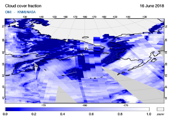 OMI - Cloud cover fraction of 16 June 2018