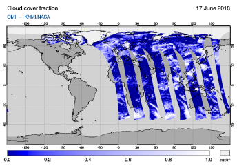 OMI - Cloud cover fraction of 17 June 2018