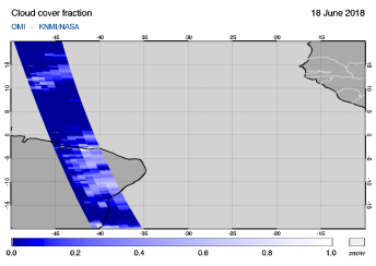 OMI - Cloud cover fraction of 18 June 2018