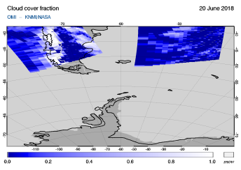 OMI - Cloud cover fraction of 20 June 2018