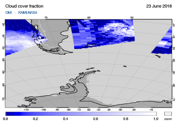 OMI - Cloud cover fraction of 23 June 2018