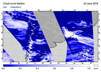 OMI - Cloud cover fraction of 24 June 2018