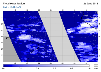 OMI - Cloud cover fraction of 25 June 2018