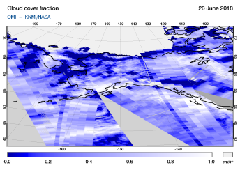 OMI - Cloud cover fraction of 28 June 2018