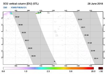 OMI - SO2 vertical column of 28 June 2018
