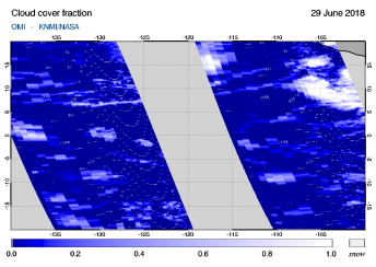OMI - Cloud cover fraction of 29 June 2018