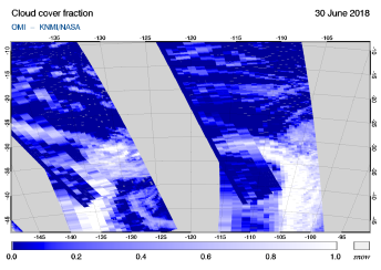 OMI - Cloud cover fraction of 30 June 2018