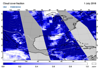 OMI - Cloud cover fraction of 01 July 2018