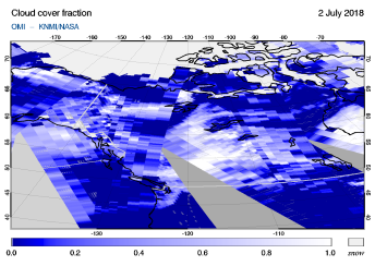 OMI - Cloud cover fraction of 02 July 2018