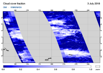 OMI - Cloud cover fraction of 03 July 2018