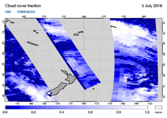 OMI - Cloud cover fraction of 05 July 2018