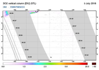 OMI - SO2 vertical column of 05 July 2018