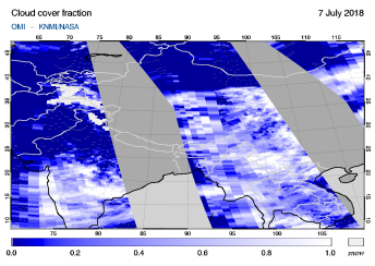 OMI - Cloud cover fraction of 07 July 2018