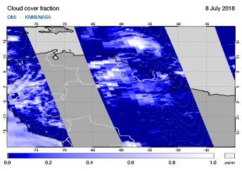 OMI - Cloud cover fraction of 08 July 2018