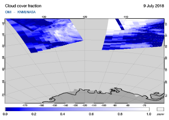 OMI - Cloud cover fraction of 09 July 2018