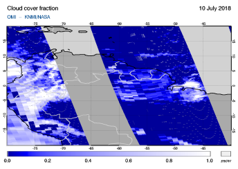 OMI - Cloud cover fraction of 10 July 2018