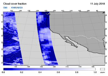 OMI - Cloud cover fraction of 11 July 2018