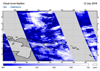 OMI - Cloud cover fraction of 12 July 2018