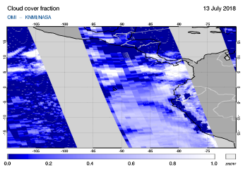 OMI - Cloud cover fraction of 13 July 2018