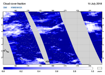 OMI - Cloud cover fraction of 15 July 2018