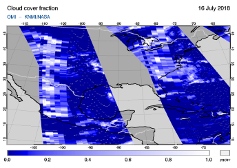 OMI - Cloud cover fraction of 16 July 2018