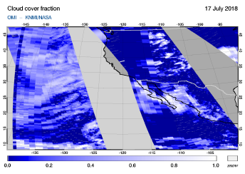 OMI - Cloud cover fraction of 17 July 2018