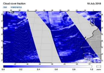 OMI - Cloud cover fraction of 18 July 2018