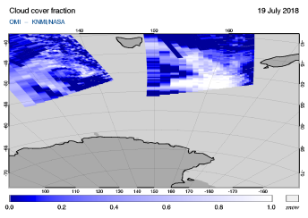 OMI - Cloud cover fraction of 19 July 2018
