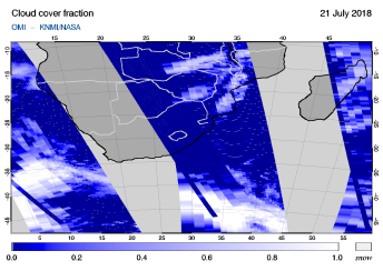 OMI - Cloud cover fraction of 21 July 2018