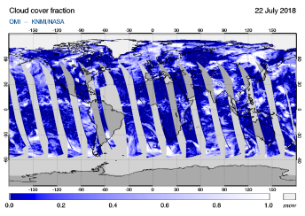 OMI - Cloud cover fraction of 22 July 2018