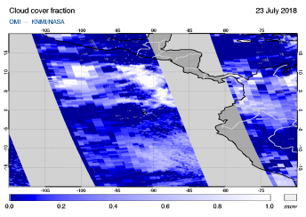 OMI - Cloud cover fraction of 23 July 2018