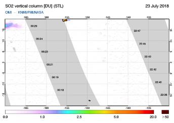 OMI - SO2 vertical column of 23 July 2018