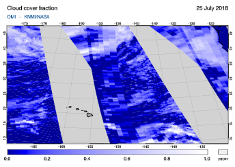 OMI - Cloud cover fraction of 25 July 2018