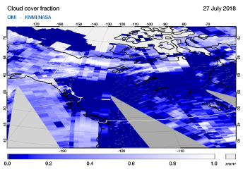 OMI - Cloud cover fraction of 27 July 2018
