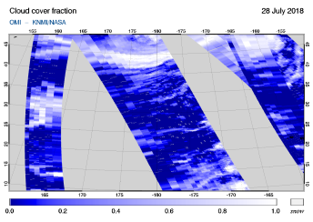 OMI - Cloud cover fraction of 28 July 2018