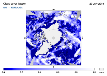 OMI - Cloud cover fraction of 29 July 2018