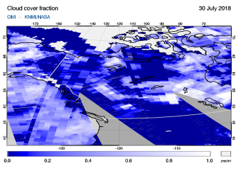 OMI - Cloud cover fraction of 30 July 2018