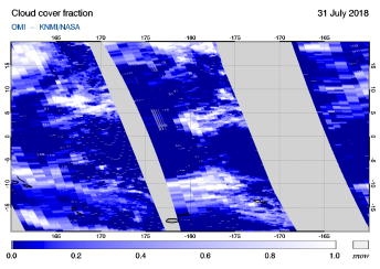 OMI - Cloud cover fraction of 31 July 2018