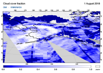 OMI - Cloud cover fraction of 01 August 2018