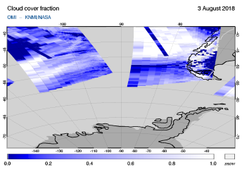 OMI - Cloud cover fraction of 03 August 2018