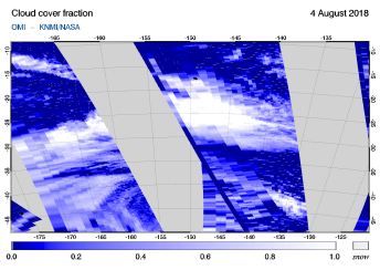 OMI - Cloud cover fraction of 04 August 2018
