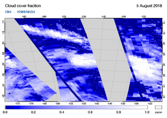 OMI - Cloud cover fraction of 05 August 2018