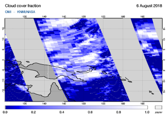 OMI - Cloud cover fraction of 06 August 2018