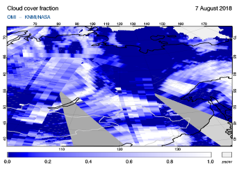 OMI - Cloud cover fraction of 07 August 2018